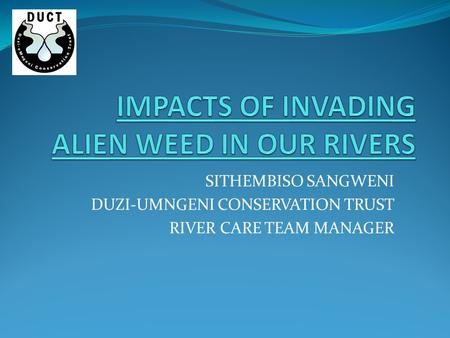 SITHEMBISO SANGWENI DUZI-UMNGENI CONSERVATION TRUST RIVER CARE TEAM MANAGER.