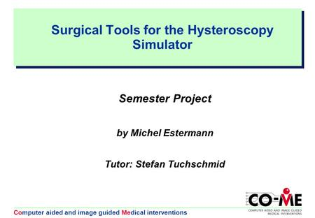 Computer aided and image guided Medical interventions Surgical Tools for the Hysteroscopy Simulator Semester Project by Michel Estermann Tutor: Stefan.