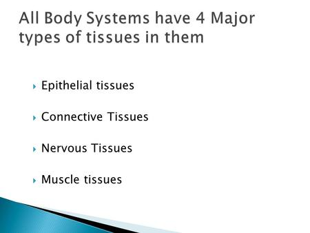  Epithelial tissues  Connective Tissues  Nervous Tissues  Muscle tissues.