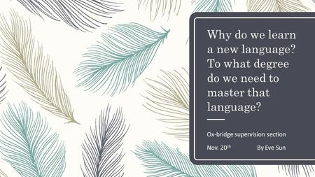 Why do we learn a new language? To what degree do we need to master that language? Ox-bridge supervision section Nov. 20 th By Eve Sun.