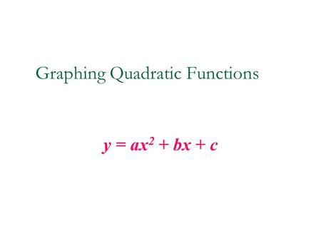 Graphing Quadratic Functions y = ax 2 + bx + c. Quadratic Functions The graph of a quadratic function is a parabola. A parabola can open up or down. If.