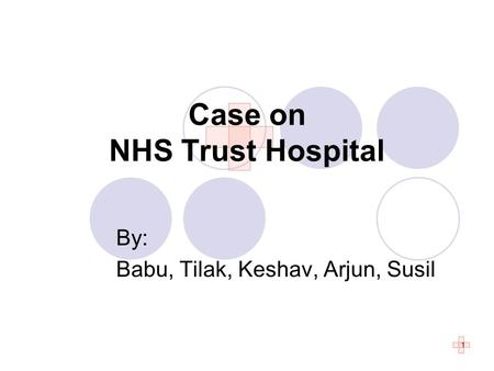 1 By: Babu, Tilak, Keshav, Arjun, Susil Case on NHS Trust Hospital.