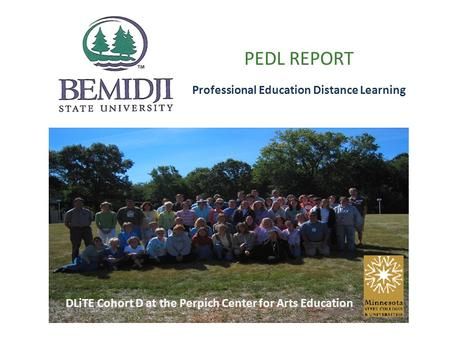 PEDL REPORT Professional Education Distance Learning DLiTE Cohort D at the Perpich Center for Arts Education.