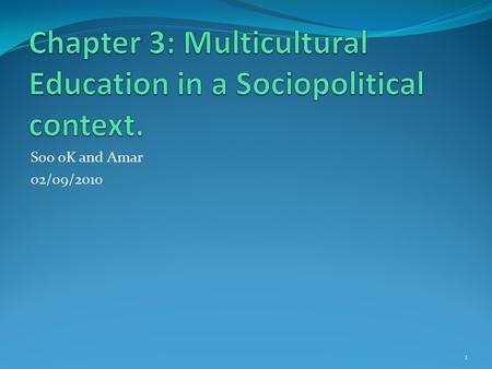 Soo oK and Amar 02/09/2010 1. Multicultural Education Definition Sonia Nieto (1996) defines multicultural education as antiracist basic education for.