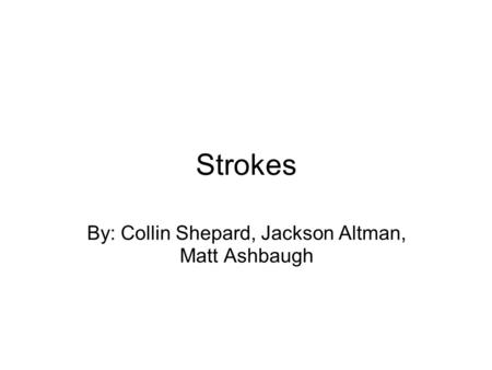 Strokes By: Collin Shepard, Jackson Altman, Matt Ashbaugh.