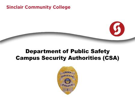 Department of Public Safety Campus Security Authorities (CSA)