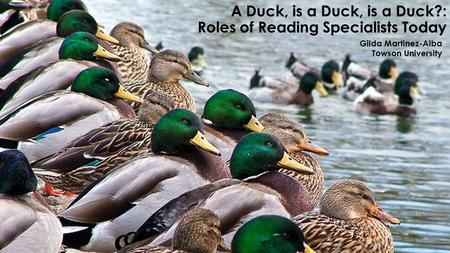 A Duck, is a Duck, is a Duck?: Roles of Reading Specialists Today Gilda Martinez-Alba Towson University.