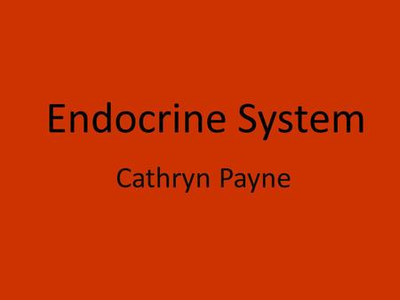 Endocrine System Cathryn Payne. Function The endocrine system regulates the body by forming or giving off hormones into the bloodstream. The endocrine.