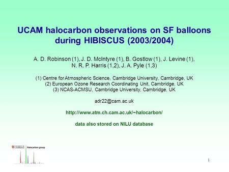 1 UCAM halocarbon observations on SF balloons during HIBISCUS (2003/2004) A. D. Robinson (1), J. D. McIntyre (1), B. Gostlow (1), J. Levine (1), N. R.