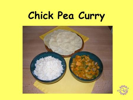 Chick Pea Curry. Ingredients:1 red onion, 100g mushrooms, 1 clove garlic, 1 sweet potato, 100g spinach, 1 x 240g can chickpeas, 50g cashew nuts, 2 x 15ml.