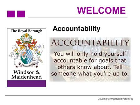 Governors Introduction Part Three WELCOME Accountability.