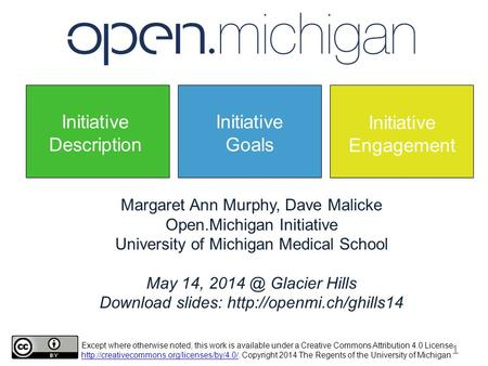 Margaret Ann Murphy, Dave Malicke Open.Michigan Initiative University of Michigan Medical School May 14, Glacier Hills Download slides: