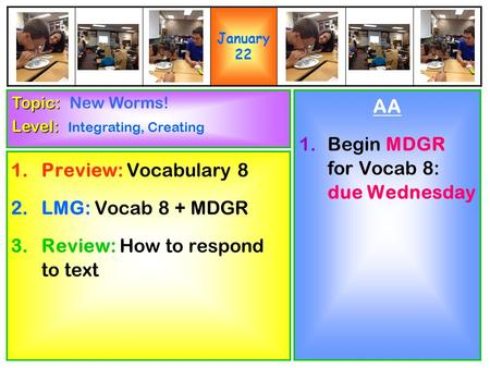 1.Preview: Vocabulary 8 2.LMG: Vocab 8 + MDGR 3.Review: How to respond to text AA 1.Begin MDGR for Vocab 8: due Wednesday Topic: Topic: New Worms! Level: