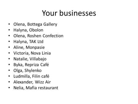 Your businesses Olena, Bottega Gallery Halyna, Obolon Olena, Roshen Confection Halyna, TAK Ltd Aline, Monpasie Victoria, Nova Linia Natalie, Villabajo.