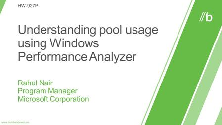 Pool Overview The Windows Pool has four basic allocation areas: Allocations that can be paged out of memory to the pagefile Paged Pool Allocations.