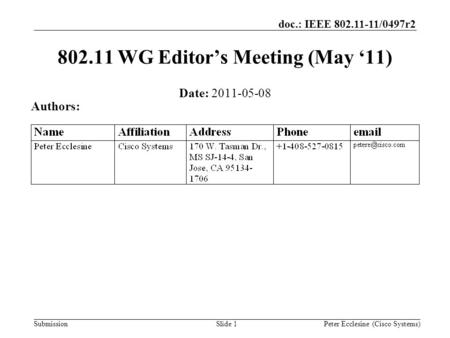 Submission doc.: IEEE 802.11-11/0497r2 Slide 1 802.11 WG Editor's Meeting (May '11) Date: 2011-05-08 Authors: Peter Ecclesine (Cisco Systems)