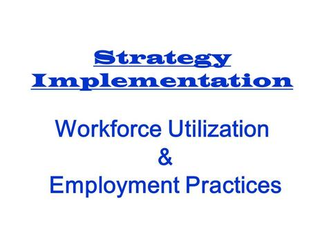 Strategy Implementation Workforce Utilization & Employment Practices.