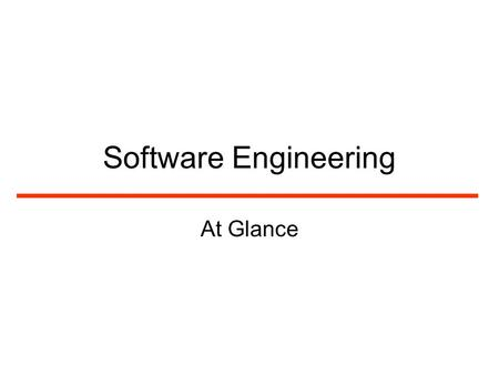 Software Engineering At Glance. Why We Need Software Engineering? The aim of software engineering is to solve the software crisis Software is delivered.