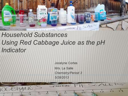 Measuring the pH Level in Household Substances Using Red Cabbage Juice as the pH Indicator Jocelyne Cortes Mrs. La Salle Chemistry/Period 3 5/28/2013.