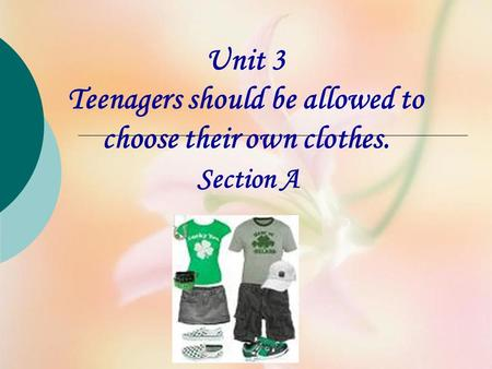 Unit 3 Teenagers should be allowed to choose their own clothes. Section A.