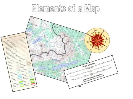 In map making, or Cartography, there are many different standard elements. These elements appear on almost all maps. Four common standard elements are: