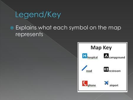  Explains what each symbol on the map represents.