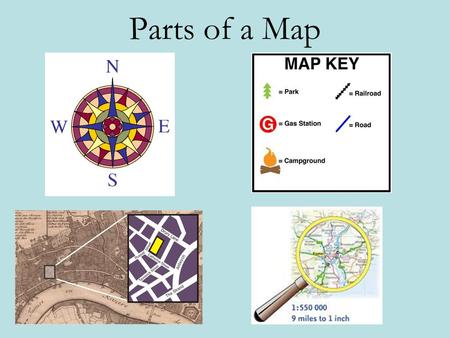 Parts of a Map. There are many important parts of a map but we will focus on six key features. They are: Map Title Compass Rose Map Key or Legend Map.
