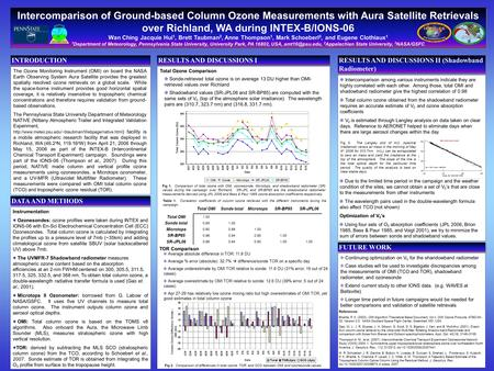 Intercomparison of Ground-based Column Ozone Measurements with Aura Satellite Retrievals over Richland, WA during INTEX-B/IONS-06 Wan Ching Jacquie Hui.