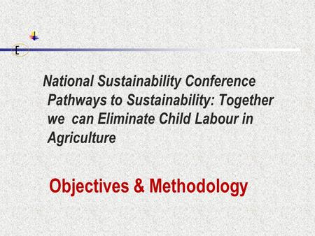 National Sustainability Conference Pathways to Sustainability: Together we can Eliminate Child Labour in Agriculture Objectives & Methodology.
