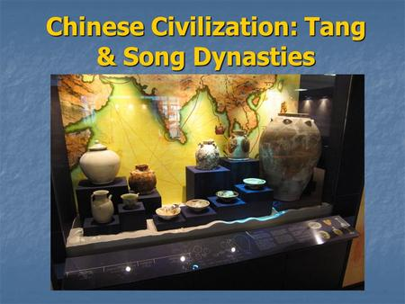 Chinese Civilization: Tang & Song Dynasties. Sui-Tang Era Fall of the Han dynasty = 589 CE Fall of the Han dynasty = 589 CE Wendi unifies China under.
