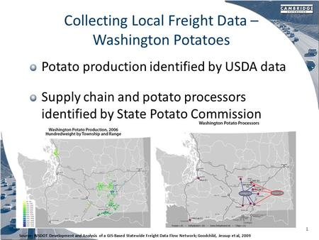 Collecting Local Freight Data – Washington Potatoes Potato production identified by USDA data Supply chain and potato processors identified by State Potato.