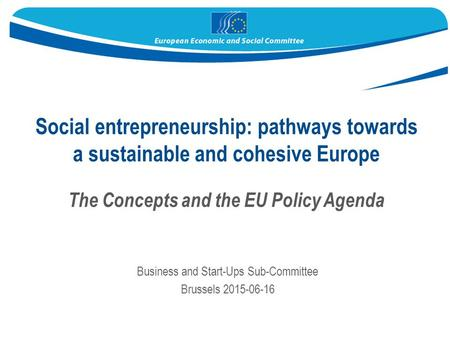 Social entrepreneurship: pathways towards a sustainable and cohesive Europe The Concepts and the EU Policy Agenda Business and Start-Ups Sub-Committee.
