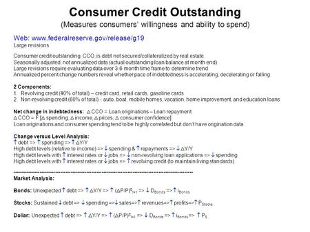 Consumer Credit Outstanding (Measures consumers' willingness and ability to spend) Web: www.federalreserve.gov/release/g19 Large revisions Consumer credit.