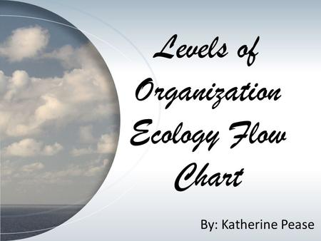 Levels of Organization Ecology Flow Chart By: Katherine Pease.