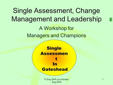 P Gray SAP co-ordinator Aug.2004 1 Single Assessment, Change Management and Leadership A Workshop for Managers and Champions Single Assessmen t In Gateshead.