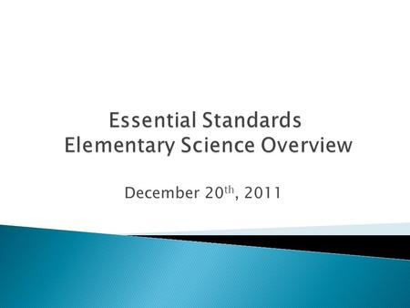 December 20 th, 2011.  Adopted in 2009 to replace the 2004-2005 Standard Course of Study for Science  Will NOT be implemented in CMS until 2012- 2013.
