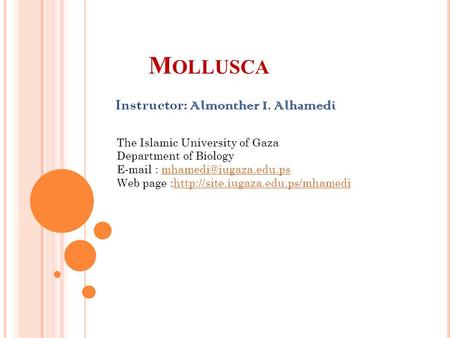 M OLLUSCA Instructor: Almonther I. Alhamedi The Islamic University of Gaza Department of Biology   Web.