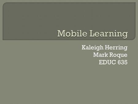 Kaleigh Herring Mark Roque EDUC 635.  Any activity that allows individuals to be more productive when consuming, interacting with, or creating information,