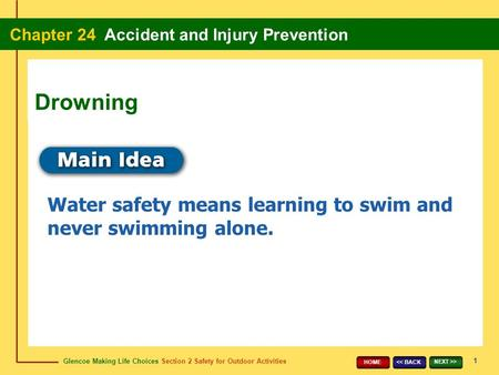 Glencoe Making Life Choices Section 2 Safety for Outdoor Activities Chapter 24 Accident and Injury Prevention 1 << BACK NEXT >> HOME Water safety means.
