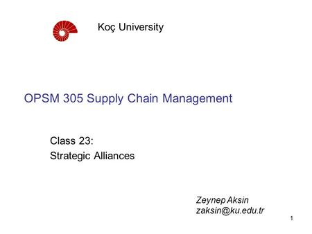 OPSM 305 Supply Chain Management