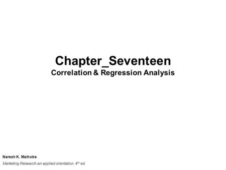 Correlation & Regression Analysis