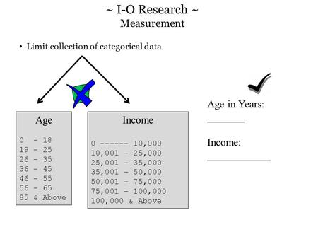 Limit collection of categorical data Age 0 - 18 19 – 25 26 – 35 36 – 45 46 – 55 56 – 65 85 & Above Income 0 ------ 10,000 10,001 – 25,000 25,001 – 35,000.