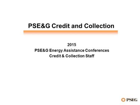 PSE&G Credit and Collection 2015 PSE&G Energy Assistance Conferences Credit & Collection Staff.