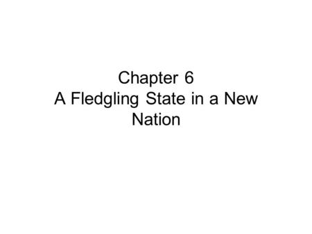 Chapter 6 A Fledgling State in a New Nation. Section 1 The State in the Confederation Articles of Confederation –Country's first constitution –Created.