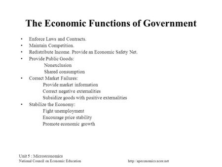 Unit 5 : Microeconomics National Council on Economic Education The Economic Functions of Government Enforce Laws and Contracts.