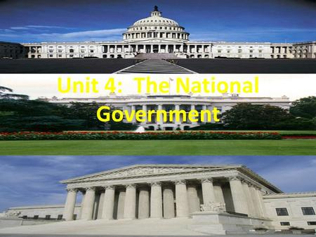 Unit 4: The National Government. Class Starter 1.Explain the difference between the Melting Pot Theory and the Tossed Salad Theory. 2.What was the House.