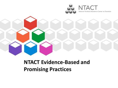 NTACT Evidence-Based and Promising Practices. Agenda 1.PowerPoint a)Why we care about evidence-based practices (EBPs) b)Levels of Evidence c)Criteria.