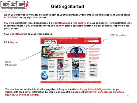 1 Getting Started When you first type in www.gscintelligence.com to your web browser, you come to the home page and will be asked to LOG IN on the top.