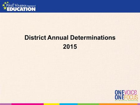 District Annual Determinations 2015. IDEA Part B Sections 616(a) and (e) A State must consider the following four factors: 1.Performance on compliance.
