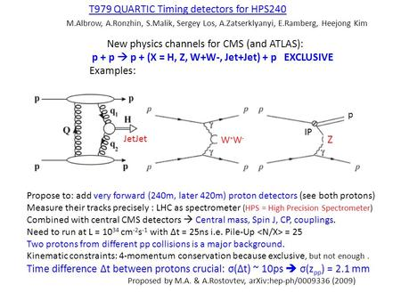 T979 QUARTIC Timing detectors for HPS240 M.Albrow, A.Ronzhin, S.Malik, Sergey Los, A.Zatserklyanyi, E.Ramberg, Heejong Kim New physics channels for CMS.